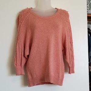 Anthropologie Moth XS Pink Pom Pom Cable Sweater